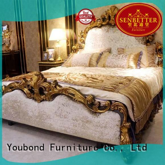 luxury real wood bedroom furniture with white rim for decoration Senbetter