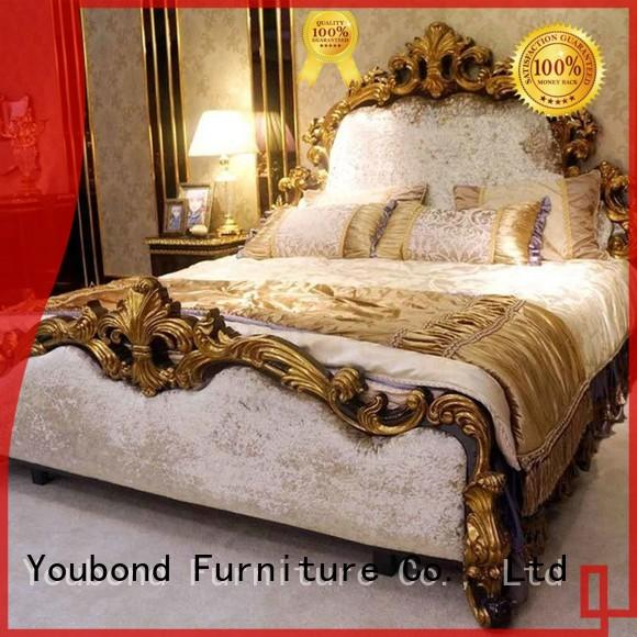 Senbetter veneer mission bedroom furniture with shiny brass accessory decoration for sale
