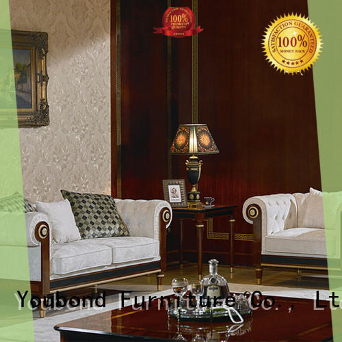 gloss wood living room furniture with flower carving for hotel