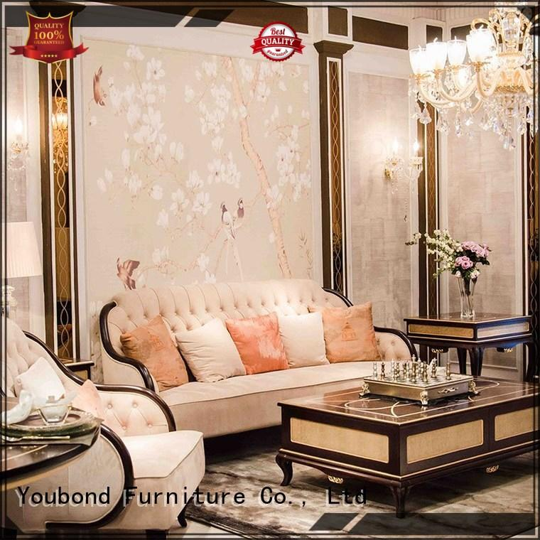 gloss traditional sofa sets living room with brass accessory for villa