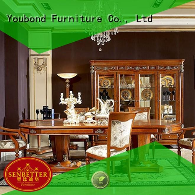 Senbetter wood dining table with chairs for villa