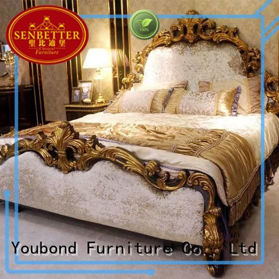 european best bedroom furniture with shiny brass accessory decoration for sale