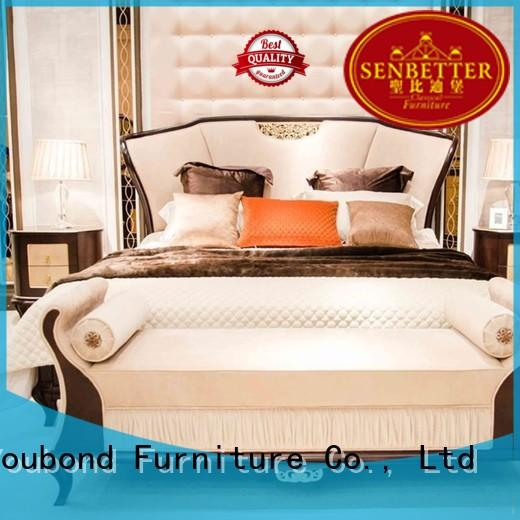Senbetter luxury bedroom furniture with shiny brass accessory decoration for royal home and villa