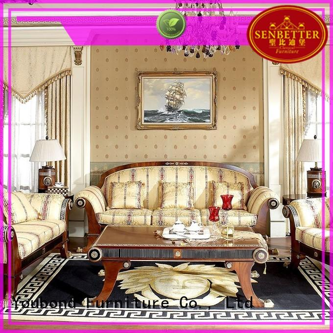 classical wood living room furniture with flower carving for home