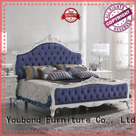 Senbetter traditional bedroom furniture sets with shiny brass accessory decoration for sale