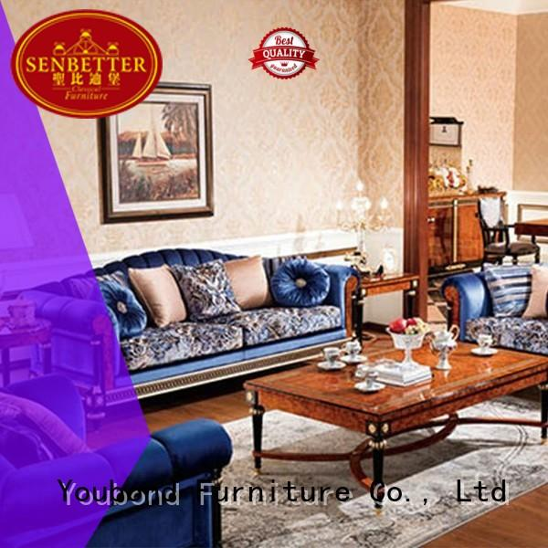 Senbetter luxury living room furniture with brass accessory for hotel