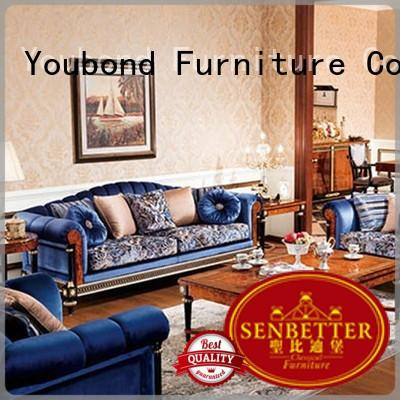 Senbetter classical sofa set for small living room with long dining table for villa