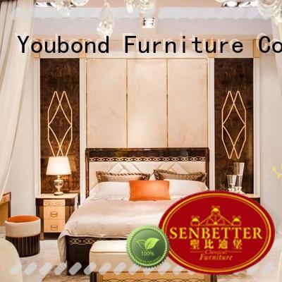 Senbetter royal antique bedroom furniture with white rim for sale