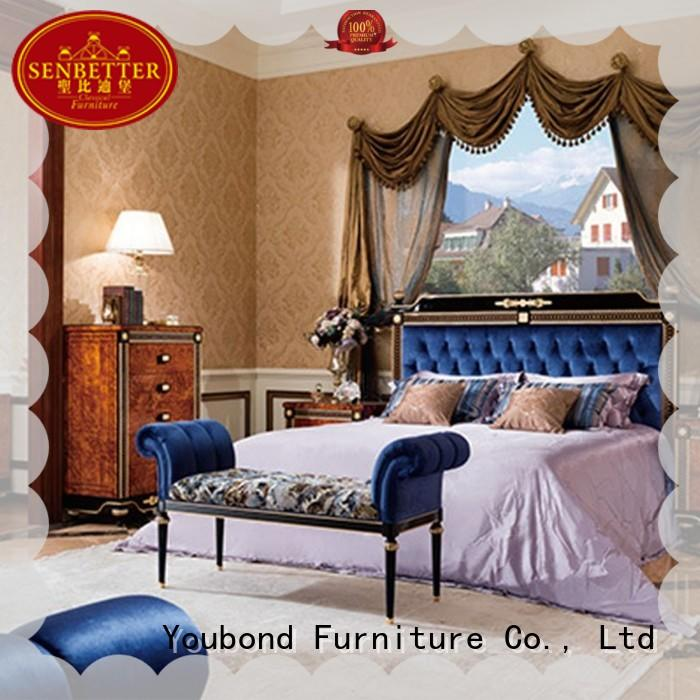 Senbetter european vintage bedroom furniture with shiny brass accessory decoration for royal home and villa