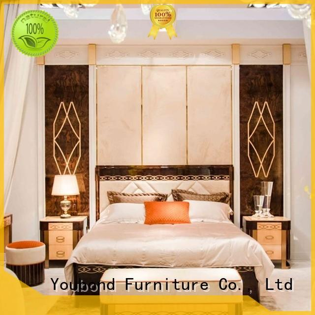 mahogany ash bedroom furniture with shiny brass accessory decoration for royal home and villa