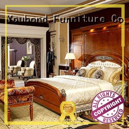 Senbetter wooden bedroom furniture with shiny brass accessory decoration for sale