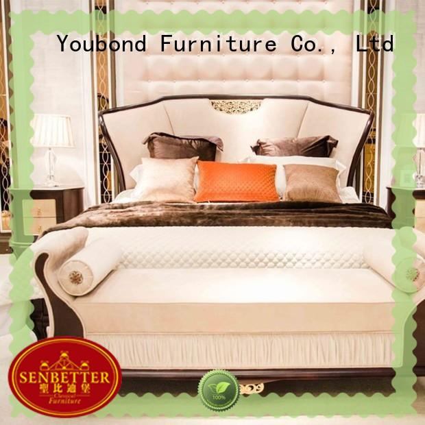 Senbetter italian style vintage bedroom furniture with white rim for royal home and villa