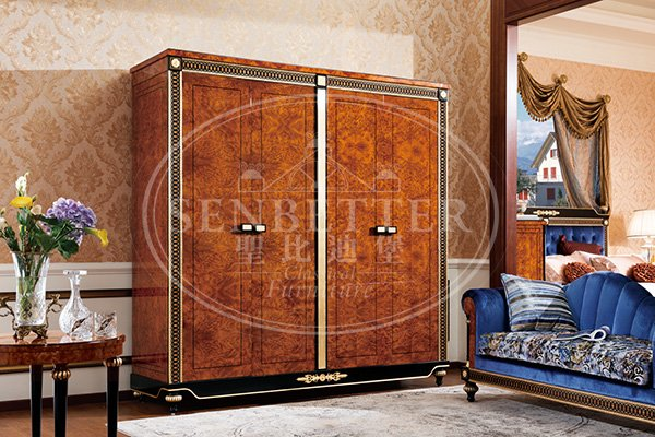 mahogany cedar bedroom furniture with white rim for royal home and villa-5