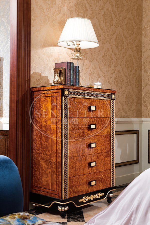 mahogany cedar bedroom furniture with white rim for royal home and villa-6