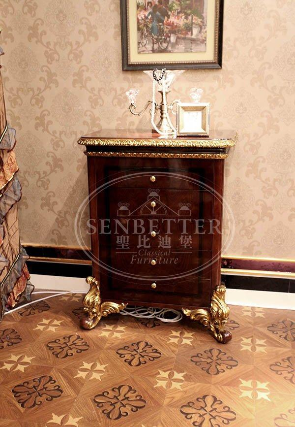Senbetter high gloss bedroom furniture with white rim for royal home and villa