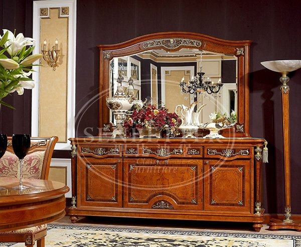 european solid wood dining room sets with buffet for home-5