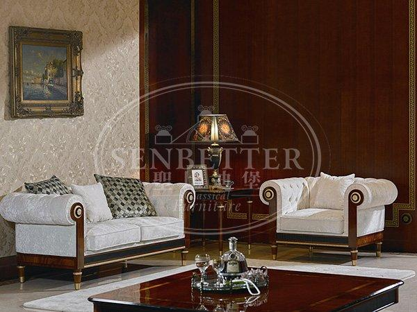 Senbetter classic italian furniture living room with flower carving for home
