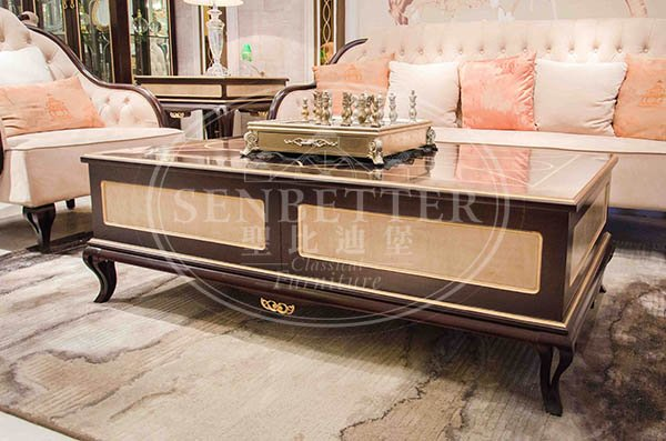 Senbetter luxury small living room furniture sets with flower carving for villa-5
