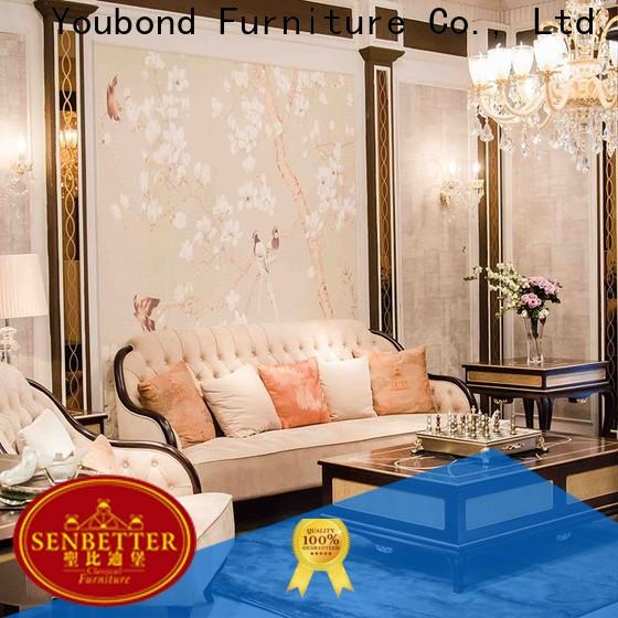 Senbetter elegant style drawing room table design with mirror of buffet for hotel