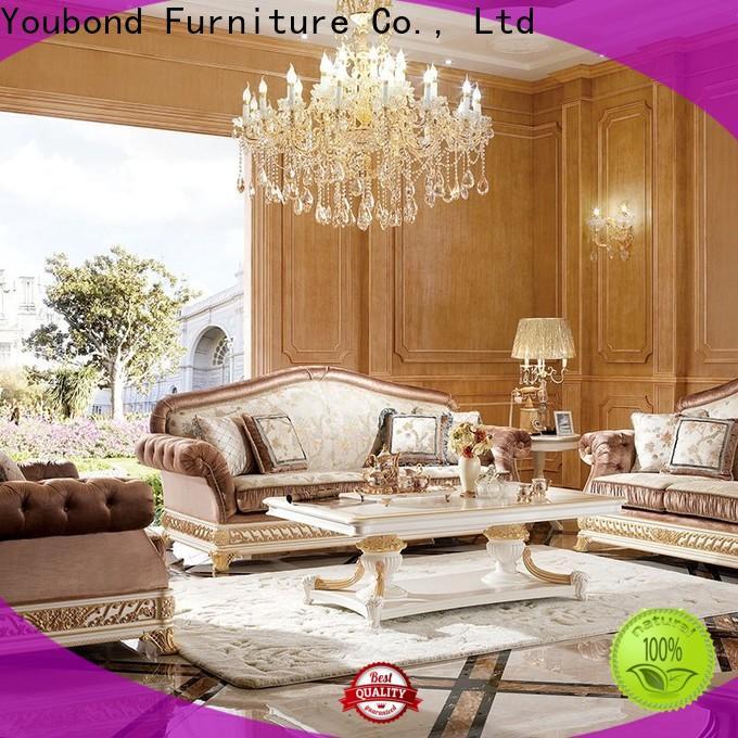 Senbetter white living room furniture with flower carving for living room