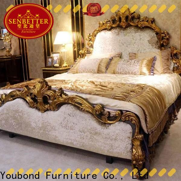Senbetter master bedroom furniture set with shiny brass accessory decoration for sale