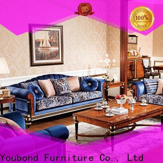Senbetter european elegant living room sets with brass accessory for hotel