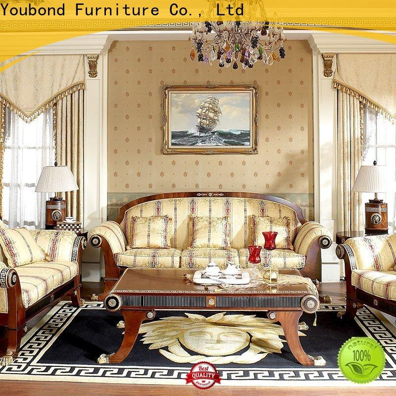 Senbetter wooden red living room set with brass accessory for living room