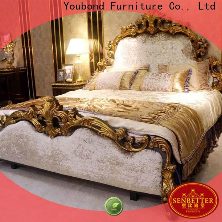Senbetter high end bedroom set traditional with white rim for royal home and villa